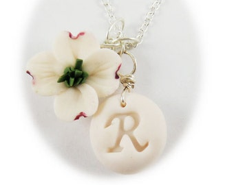 Personalized Dogwood Initial Necklace - Dogwood Jewelry Collection
