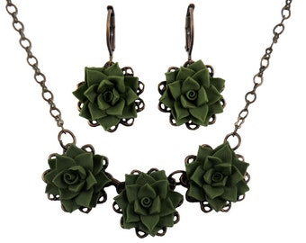 Succulent Jewelry Set - Trio Succulent Jewelry Collection, Succulent Wedding Jewelry