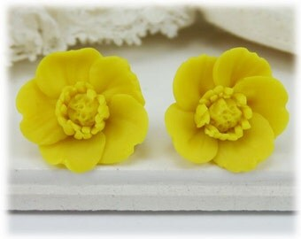 Yellow Buttercup Earrings Stud or Clip On - Buttercup Jewelry