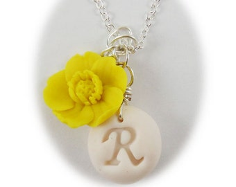 Personalized Yellow Buttercup Initial Necklace - Buttercup Jewelry, Yellow Buttercup