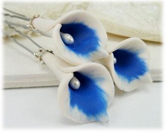 Royal Blue Calla Lily Hair Pins - Royal Blue Calla Lilies, White and Blue Calla Lily Hair Pins Wedding