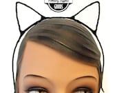 Black - Kitten / Cat / Kitty Ears - Headband - Cat Costume - Kitty Costume - Halloween Headpiece
