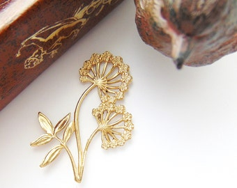 BRASS * Nature Floret Flower Dandelion Stamping ~ Jewelry Findings ~ Brass Stamping (C-1306)