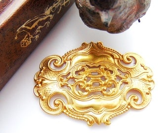 BRASS Large Ornate Oval Scroll Stamping Plaque - Jewelry Findings ~ Brass Stamping (C-1004)