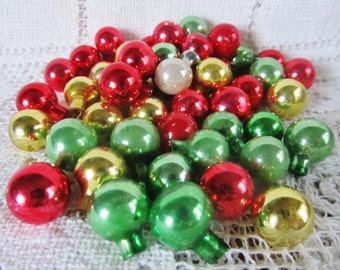 Vintage Lot Of 47 Feather Tree Glass Shiny Brite Christmas Ornaments, Miniature Ornaments