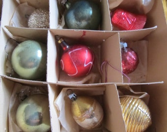 Vintage 1930's Feather Tree Christmas Ornaments, Lot Of 9, Ships Worldwide