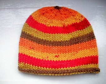 Unisex beanie hat wool rich yarn hand knitted Classic design Contemporary colours  - Autumn spice, red, orange