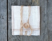 White Burlap USB/Wallet Pouch with Chevron Lining