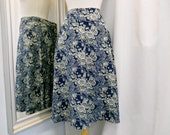 Vintage Rayon Skirt 1980s 80s Navy Print with Grey and White Skirt Calf Length A-Line Skirt with Floral Print Flared Skirt Size Medium