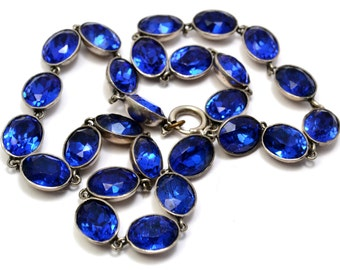 Antique Victorian sterling silver sapphire blue paste riviere choker necklace