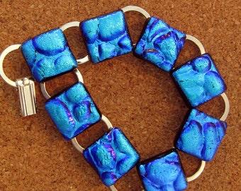 Dichroic Glass Bracelet - Link Bracelet - Fused Glass Bracelet - Dichroic Jewelry - Fused Glass Jewelry