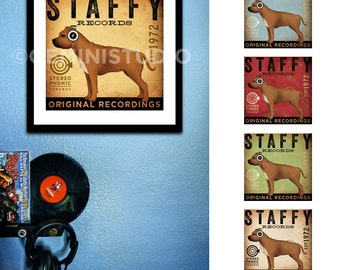 Staffy Staffordshire Terrier records dog art illustration giclee signed UNFRAMED print by Stephen Fowler