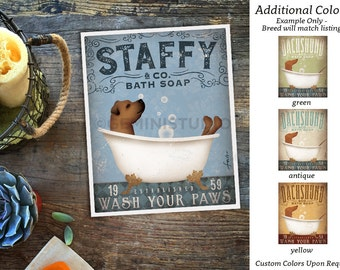Staffy Staffordshire Terrier dog bath soap Company vintage style artwork by Stephen Fowler Giclee Signed Print