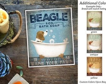 Beagle dog bath soap Company vintage style artwork by Stephen Fowler Giclee Signed Print UNFRAMED