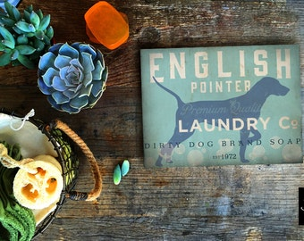 English Pointer dog laundry house laundry room artwork on gallery wrapped canvas by Stephen Fowler