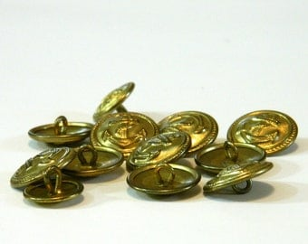 Vintage/Antique Buttons, Anchor, Nautical, Brass with Loop Shanks, Sewing Supply, Craft Supply, DIY Supplies, Seemstress