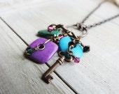 "DoubleUp Sale! Boho Brass Key Charm 28"" Necklace Purple, Green, Aqua Mykonos Ceramic Beads, Swarovski Crystals, Vintaj Brass findings"