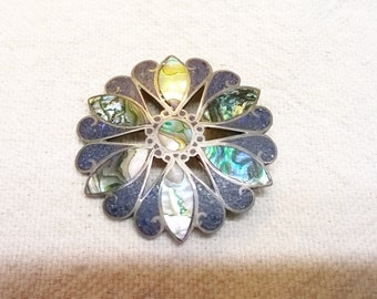 50s Taxco Mexican Floral Brooch and Pendant, Abalone and Mosiac Chips , Sterling Hallmark