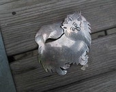 Pomeranian Vintage Mexican Pin 50s Sterling silver 925 Mexico Vintage silver dog pin fluffy pet Brooch Mother's Day