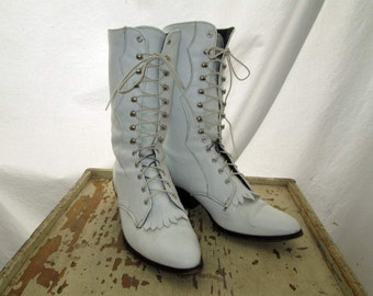 Vintage White Roper Boots 80s Prairie Victorian leather boots White Steampunk lace up cowboy boots 6
