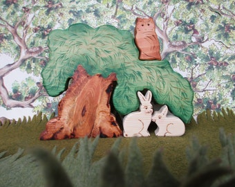 Waldorf wood toys, Little White Bunnies with their big hiding tree & Wise Mr. Owl, 4 Pc Set Eco-friendly Gift Oddity