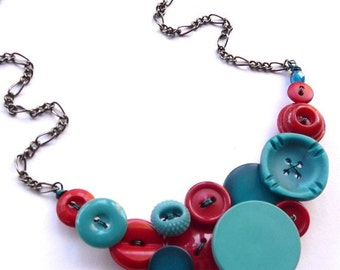ON SALE Bright Red and Aqua Blue Vintage Button Statement Necklace - Funky Chunky Jewelry
