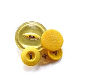 ON SALE Yellow Vintage Buttons Cluster Brooch Pin