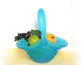 Westmoreland Blue Art Glass Basket, Bride's Basket, Frosted Aqua Blue, Applied Handle, Circa 1960s
