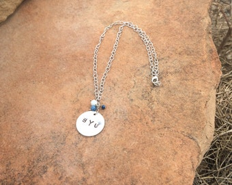 BYU Necklace with Hand Stamped letters and blue bead dangles