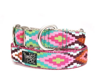 "1"" Dog Collar Cayucos Pink buckle or martingale collar"