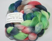 hand-dyed fiber - Double Merino/Silk Fiber - OOAK colorway (dyelot 42616)