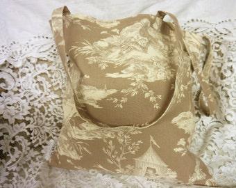 Linen Tote Bag -  Grocery Bag - Shopping Bag  - Toile de Jouy  -  Histoire de L'eau - Handmade