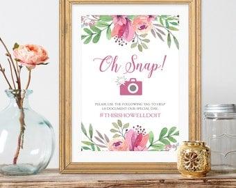 PRINTABLE - Oh Snap Sign, Wedding Hashtag, Social media sign, Watercolor Wedding Sign, Garden Wedding, Welcome Sign, purple wedding, bouquet