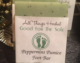 Peppermint Foot Scrub Bar with mint for tingle  and poppy seeds for massage, foot spa bar, good for the sole