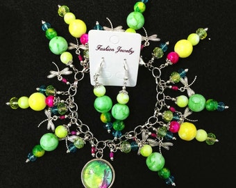 Green, Pink, Yellow, and Blue with Dragonflies Colorful Cha Cha Charm Bracelet