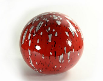 8 Inch Ceramic Gazing Ball Red