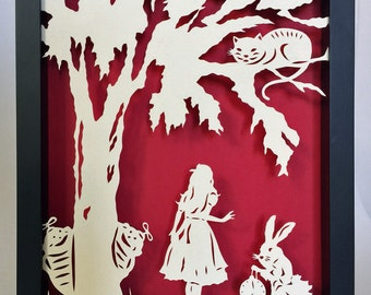 Sale 20% Off // ALICE IN WONDERLAND Papercut in Shadow Box - Hand-Cut Silhouette, Framed // Coupon Code SALE20