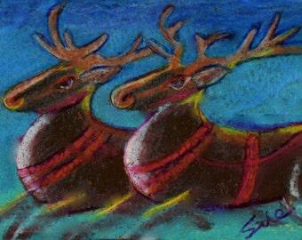 original art drawing aceo art card Christmas reindeer