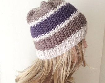 Hand Knitted Hat, Slouchy Hat, Beanie Caps