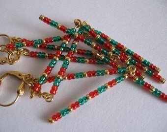 Seed Bead Dangle Earrings - Green/Red Orange