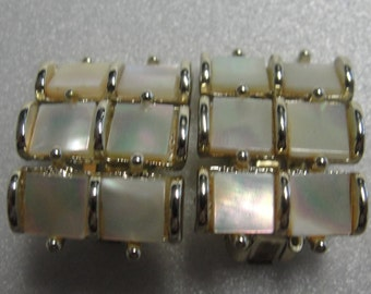 Vintage Simulated Pearl Square Clip Earrings