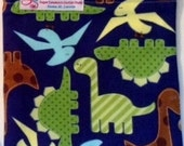 Snack Bags DINOSAURS Re-Usable Washable Velcro or Zipper  Closure