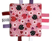 Crinkle Blanket Toy Designs VALENTINE Hearts Ladybug Monkey Frog Fox Prints with Ribbons Tags and Minky Back