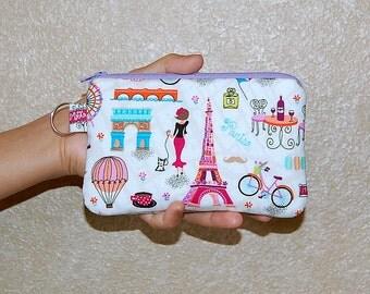 Bonjour Paris - iPhone 6s, iPhone 6, iPhone 5, iPhone 4, Samsung Galaxy S5/S6 - Cell Phone Gadget Zipper Pouch / Coin Purse