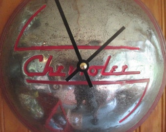 Vintage Chevy Hubcap Wall Clock - Repurposed Home Decor - Classic Car - Chevrolet