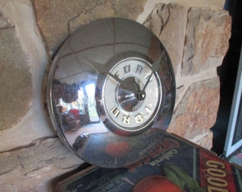 Vintage Ford Hubcap Wall Clock - Repurposed Home Decor - Detroit