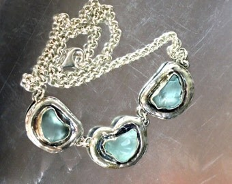 Ocean Blue Necklace, Ocean Glass Necklace, Sea Inspired Necklace, Blue Sea Necklace, Ocean Chain Necklace, Hammered Silver Glass,Silver Blue