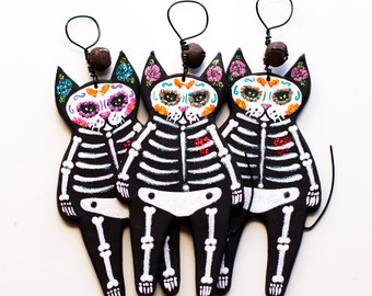 Day of the Dead Skeleton Cat - Painted Clay Folk Art Ornament