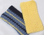 Set of Two Crocheted Dishcloths Wash Cloths, Yellow and Blue Stripes