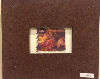 Polaroid transfer - framed original Fall Leaves in vintage recycled frame